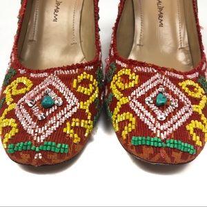 Anthropologie Shoes - Maliparmi Red Beaded Block Heels